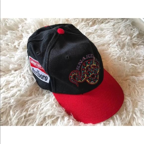 Vintage 90 s Marlboro Snapback Hat Snakes Red Brim.  M 5adb6c373a112ebc18c35127 5dcb94676042